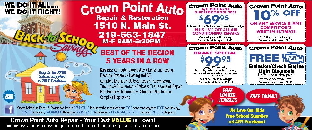 Crown Point Auto Repair - Crown Point, IN - Deals & Specials